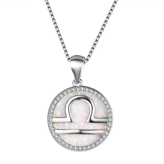 Sterling Silver Libra Pendant Necklace with Crystal Stone and Pearl Blue Opal Center
