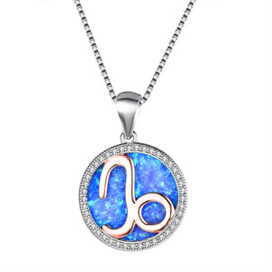Crystal Stone Sterling Silver Capricorn Pendant Necklace with White, Blue or Pearl Col-ored Center