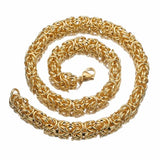Silver/Gold Stainless Steel Round Byzantine Chain Necklace