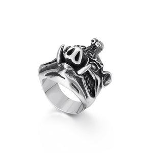 Stainless Steel 3D Pig Wide Ring for Men