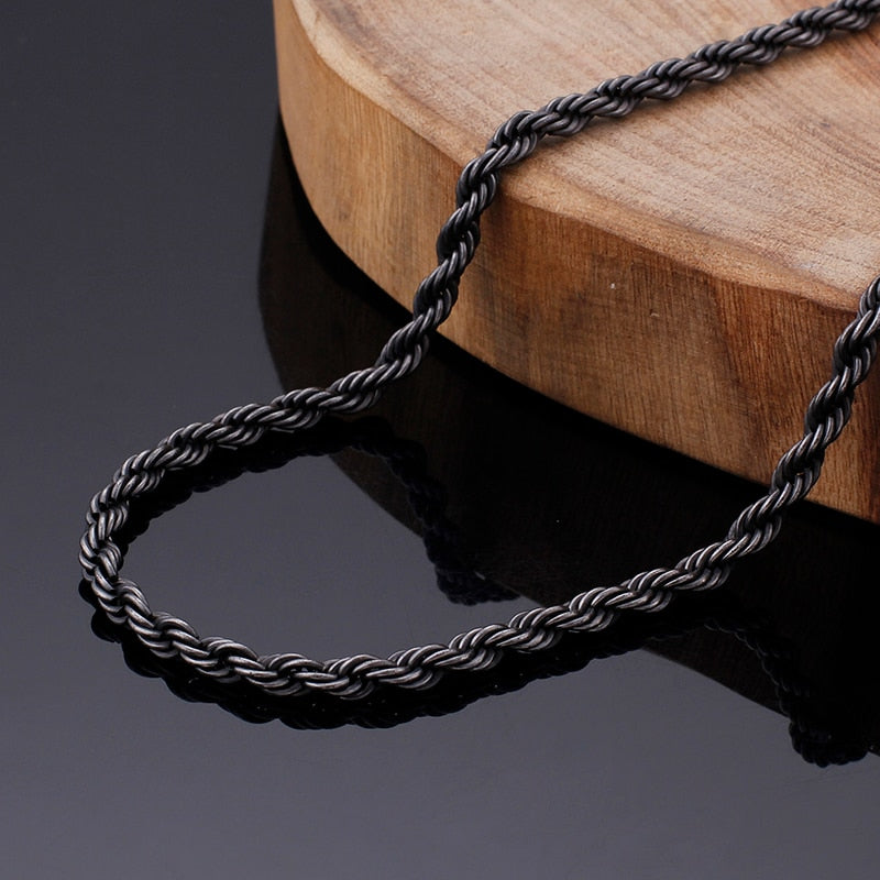 Stainless Steel Long Twisted Link Gothic Chain Necklace