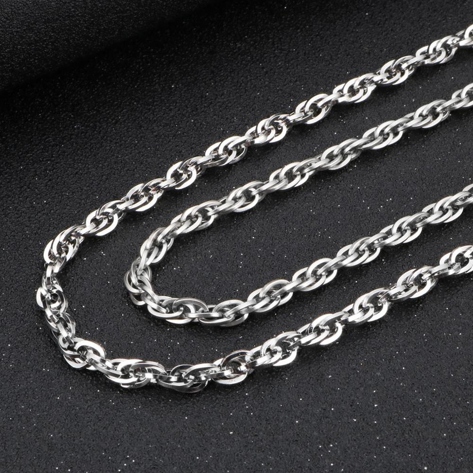 Stainless Steel Hip Hop Twisted Link Chain Necklace