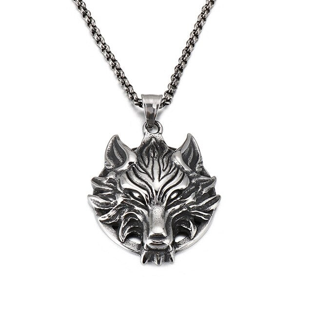 Gold/Silver Stainless Steel 3D Wolf Pendant Necklace
