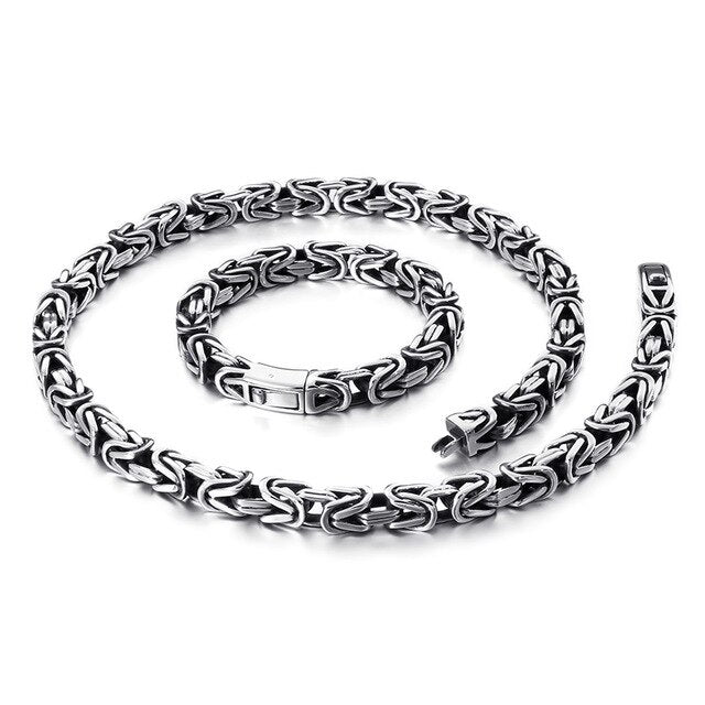 Stainless Steel Retro Bracelet and Necklace Set