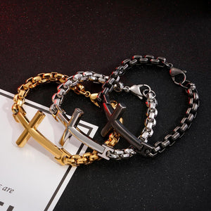 Stainless Steel Retro Cross Bracelet