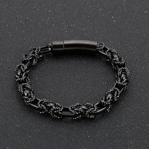 Men's Stainless Steel Black Punk Friendship Bracelet