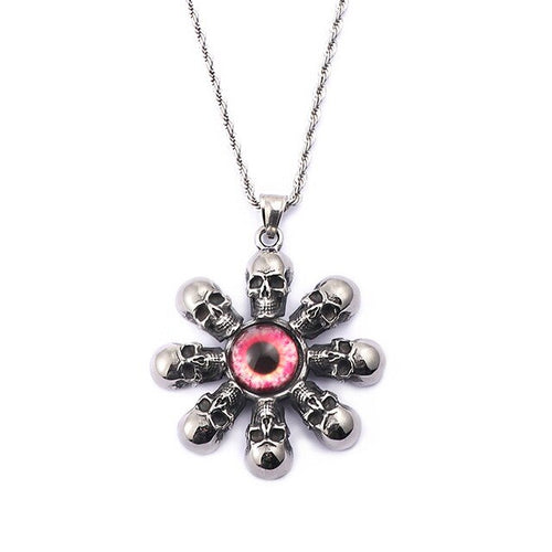 Stainless Steel Metal Skull Flower Pendant Necklace