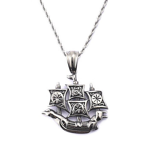 Stainless Steel Sail Boat Twisted Chain Pendant Necklace