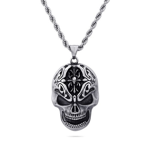 Stainless Steel Gothic 3D Skull Pendant Necklace