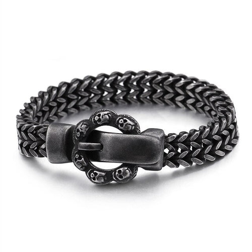 Stainless Steel Vintage Black Skull Belt Bracelet