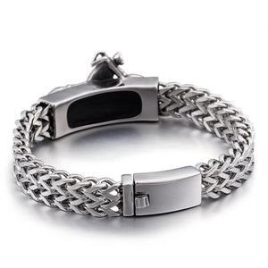 Stainless Steel Motorcycle Charm Wide Bracelet