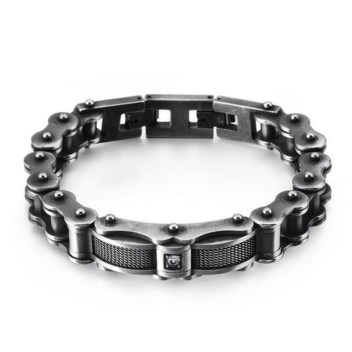 Stainless Steel Biker with Cubic Zirconia Bracelet