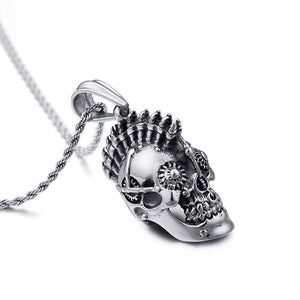 Stainless Steel Retro Gothic Skull Pendant Necklace