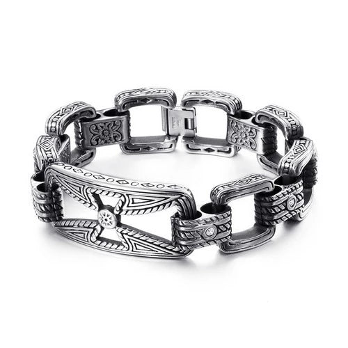 Stainless Steel Viking Link Charm Bracelet for Men