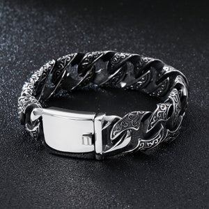 Black Stainless Steel Cuban Wide Link Bracelet