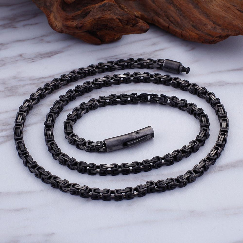 Stainless Steel Punk Black Biker Chain Necklace for Men