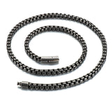 Men's Stainless Steel Black Vintage Long Necklace