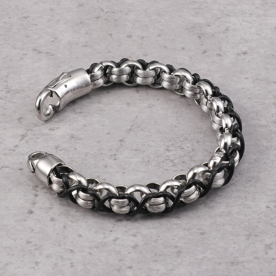 Interlocking Stainless Steel and Leather Bracelet