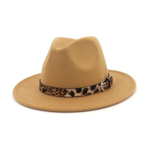 Flat Wide Brim Wool Felt Fedora Hat with Leopard Grain Leather Decor