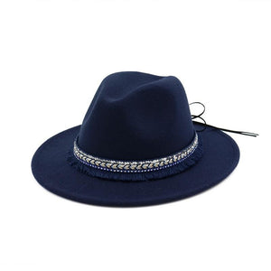 Wide Brim Wool Felt Fedora Hat with Ribbon and Tassels