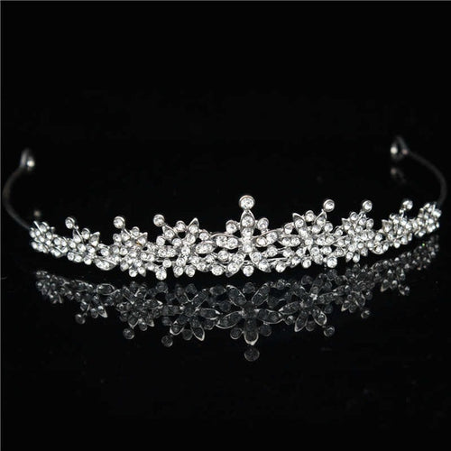 Blooming Silver Crystal Tiara Crown for Prom or Wedding