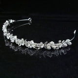 Pearl Crystal Floral Bridal Tiara Crown