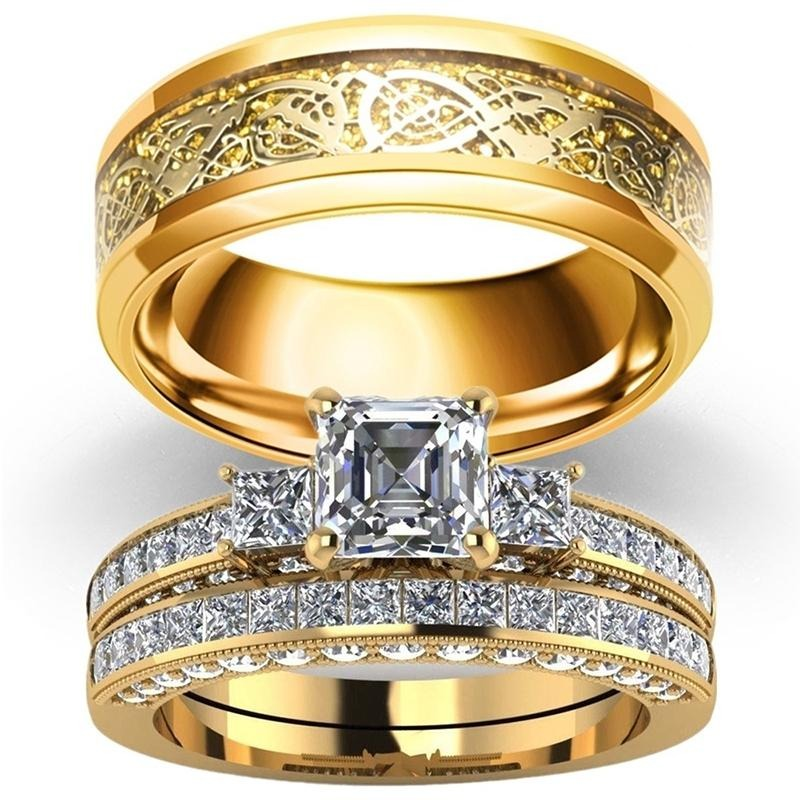 Gold Celtic Dragon & Clear Cubic Zirconia Engagement Wedding Band Set