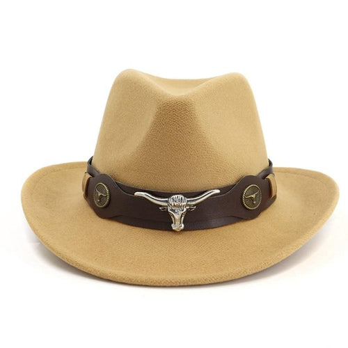 Wide Brim Felt Western Cowboy Hat with Cow Head Decor