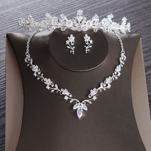 Cubic Zirconia, Leaf and Rhinestone Tiara, Necklace & Earrings Jewelry Set