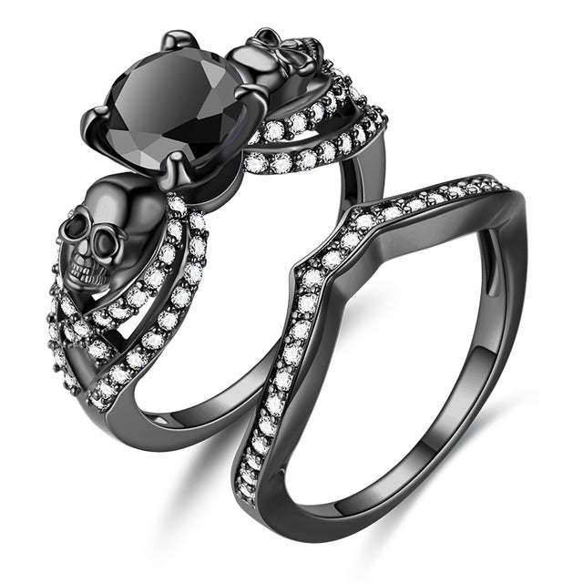 Skull Cubic Zirconia Punk Ring Engagement Promise Set
