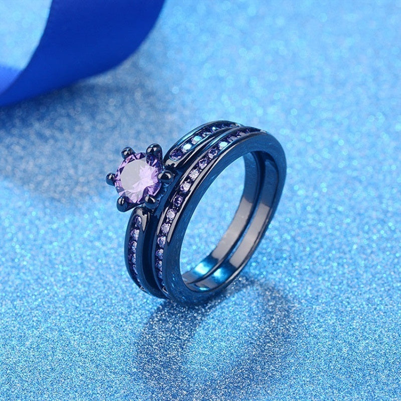 Rainbow Tungsten Men's Ring and Purple Zirconia Women's Ring Wedding Rings Set