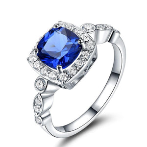 Birthstone Blue 925 Sterling Silver Engagement Ring
