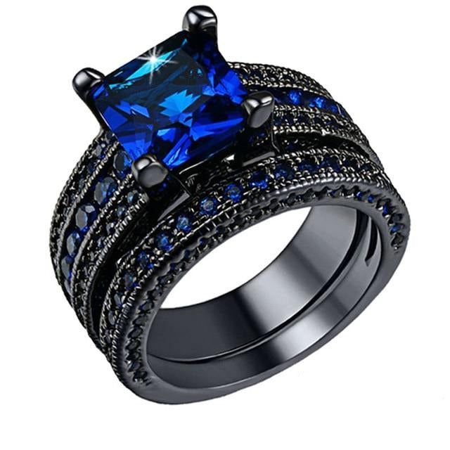 Black Brushed Matte & Blue Inlay Tungsten Carbide Band and Blue Zirconia Wedding Ring Set