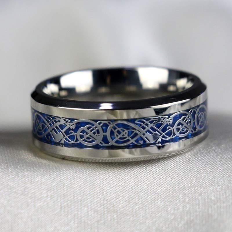 His & Hers Silver Blue Celtic Dragon and Cubic Zirconia Claddagh Ring Set