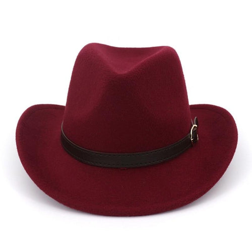 Wide Brim Wool Felt Western Cowboy Hat with Belt Buckle