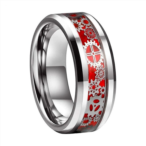 Mechanical Gear Carbon Fiber Inlay Tungsten Carbide Wedding Band