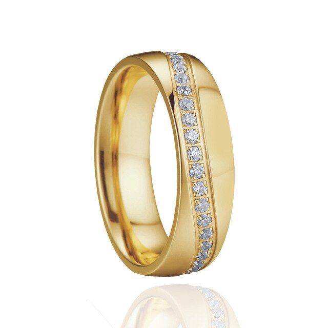 Gold Brushed Matte Titanium Steel and Cubic Zirconia Wedding Ring Set
