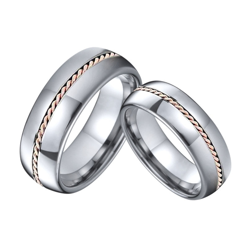 Silver Tungsten Carbide with Rose Gold Twist Inlay Wedding Bands Set