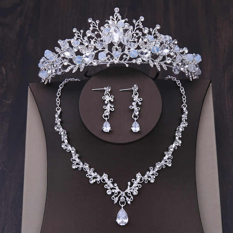 Crystal Heart and Rhinestone Tiara, Necklace & Earrings, Jewelry Set