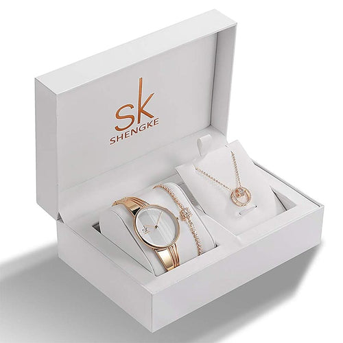 Luxury Women's Quartz Watch, Crystal Necklace & Bracelet Jewelry Set