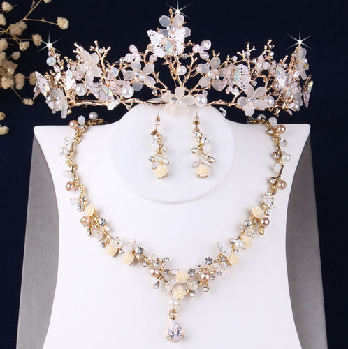 Baroque Gold Crystal Butterfly and Rhinestone Tiara, Necklace & Earrings Jewelry Set