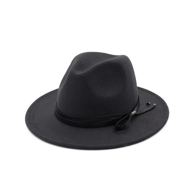 Wool Felt Fedora Hat with Black Leather Band