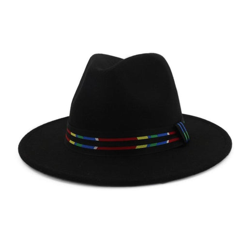 Wide Brim Felt Fedora Hat with Multicolored Striped Band
