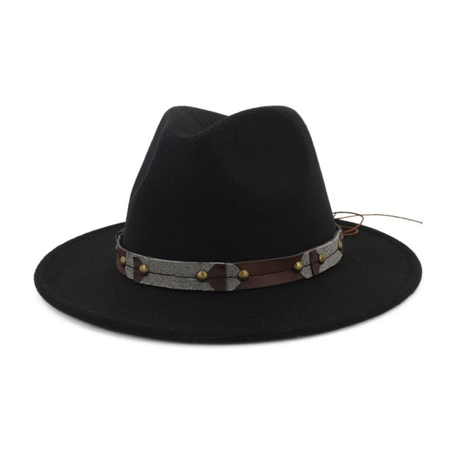 Flat Brim Wool Felt Fedora Hat with Rivets on Belt Hatband