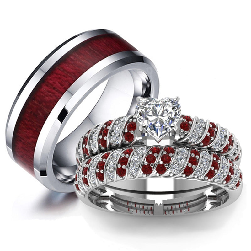His & Hers Wedding Set - Men's Red Wood Tungsten and Women's White, Red Zircon Engagement Wedding Rings