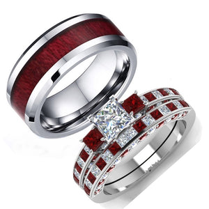 His & Hers Red Koa Wood Inlay and White Zircon Engagement Wedding Ring Set