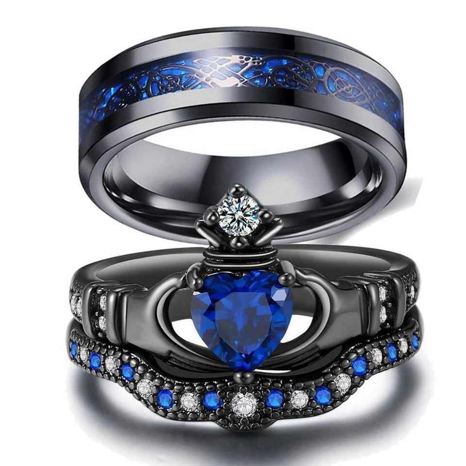 Black Celtic Dragon Inlay and Blue Claddagh Zirconia Matching Wedding Bands Set