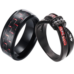Red & Black Wedding Ring Set - Men's Carbon Fiber Inlay and Women's Red White Zirconia