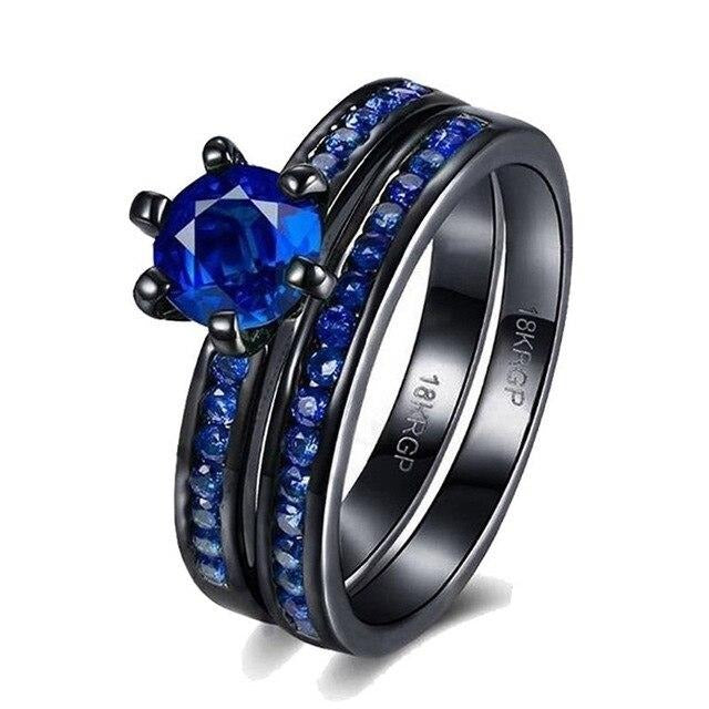 Blue & Black Matching Ring Set with Cubic Zirconia and Tungsten Carbide Wedding Band