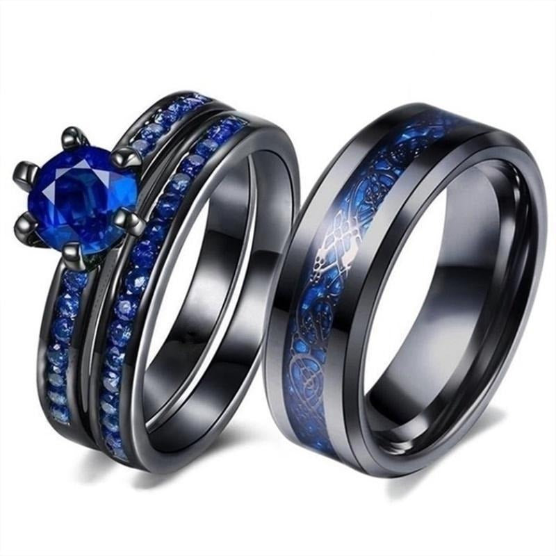His & Hers Wedding Ring Set - Blue Zirconia and Celtic Dragon Wedding Engagement Bands